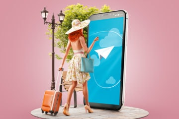 Unusual,3d,Illustration,Of,A,Young,Woman,With,Travel,Suitcase
