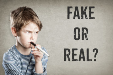 Fake,Or,Real,,Boy,Considering,The,Question,,On,Grunge,Background,