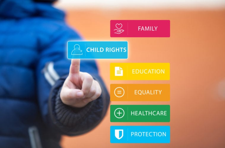 The,Rights,Of,Children,Concept.,Small,Kid,Pressing,Child,Right
